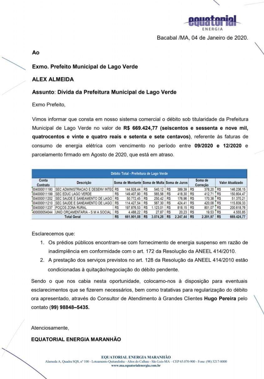 Prefeito Alex Almeida herda município sucateado, prédios públicos com o fornecimento de energia suspenso e débito com a companhia que ultrapassa meio milhão de reais